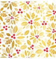 golden red holly berry holiday seamless vector image vector image