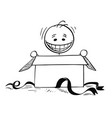 happy smiling man looking in to open gift box vector image vector image