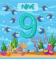 how to write number nine vector image vector image