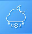 icon weather moon cloud sleet vector image