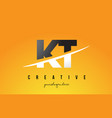 kt k t letter modern logo design with yellow vector image vector image