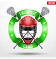 lacrosse sticks and helmet with ribbons vector image vector image