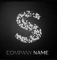 letter s logo silver dots alphabet logotype vector image