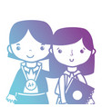 line teacher with student to class education vector image vector image