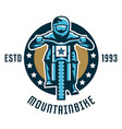 logo mountain bike a cyclist coming down the vector image vector image