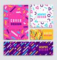 modern colorful geometric shape card set vector image