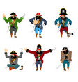 pirate set poses and motion filibuster happy and vector image vector image