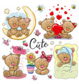 set cartoon teddy bear on a white background vector image vector image