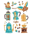 Set of coffee pots in naive lino style vector image vector image