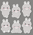 set of cute rabbits set of cute rabbits vector image vector image