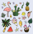 set of fashion patches fun cool stickers cute vector image