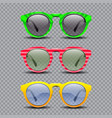 set vintage sun glasses vector image