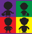silhouette characters for the childrens book vector image vector image