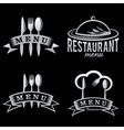 silver restaurant and menu elements set vector image