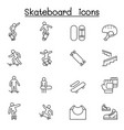 skateboard icon set in thin line style vector image