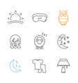 sleeping accessories linear icons set vector image