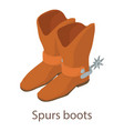 spurs boots icon isometric 3d style vector image vector image