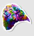 sticker colorful lion head vector image