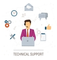 Technical support flat style Woman and icons vector image