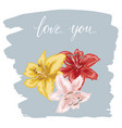 three colorfull lily flowers hand drawn on blue vector image vector image