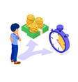 time or money man faced with choice vector image