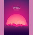 travel poster futuristic retro skyline paris vector image vector image