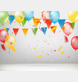 white room with color balloons and flags greeting vector image vector image