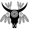 wild animal skull in black and white aztec style vector image