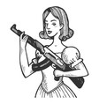 woman with automatic gun engraving vector image vector image