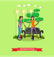 young couple riding vector image