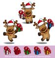 Santas Elks Holding a Gift vector image