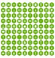 100 business icons hexagon green vector image vector image