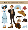 1910 fashion style man and woman personal objects vector image vector image