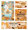 baker baking bread bakery shop dessert cakes vector image vector image