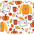 beautiful cartoon autumn pattern white background vector image vector image