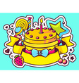 cake with candle sweets and ribbon on bl vector image