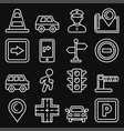 car traffic and driving icons set on black vector image vector image