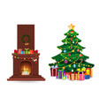 cartoon christmas set of decorated burning fire vector image vector image