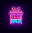 christmas sale discounts card postcard in neon vector image vector image