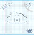 cloud computing lock line sketch icon isolated on vector image