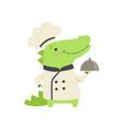 cute crocodile in chef uniform holding silver vector image