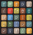 Drink line flat icons with long shadow vector image