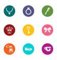 embellishment icons set flat style vector image