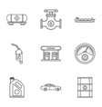 filling gasoline icons set outline style vector image