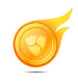 flaming nem coin symbol icon sign emblem vector image