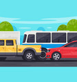flat bus pickup sedan car in traffic jam vector image