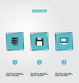 flat icons diskette datacenter display and other vector image