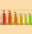 full juice bottles on transparent background vector image vector image