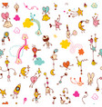 fun little cartoon characters seamless pattern vector image vector image