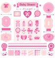 Girl baby shower set of elements for design vector image